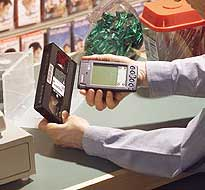 Palm being used at a register as part of a portable point of sale system