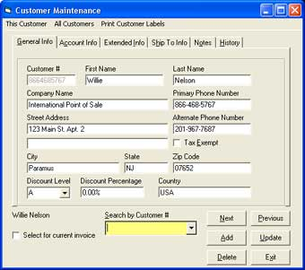 Photo of Add a Customer screen that allows you to add a customer in Cash Register Express