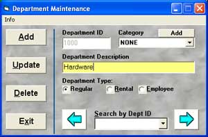 Photo of Department Maintenance screen that lets you add a department in Cash Register Express
