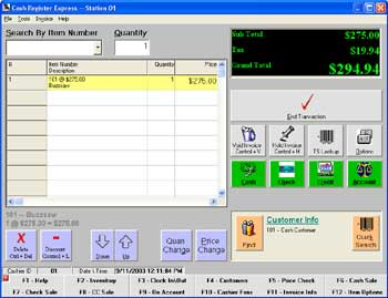 Photo of the main             invoice screen of Cash Register Express, this is where most transactions occur