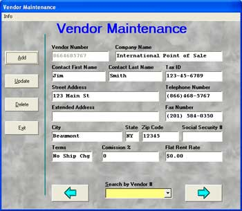 Photo of Vendoir Maintenance screen that lets you add a vendor in Cash Register Express